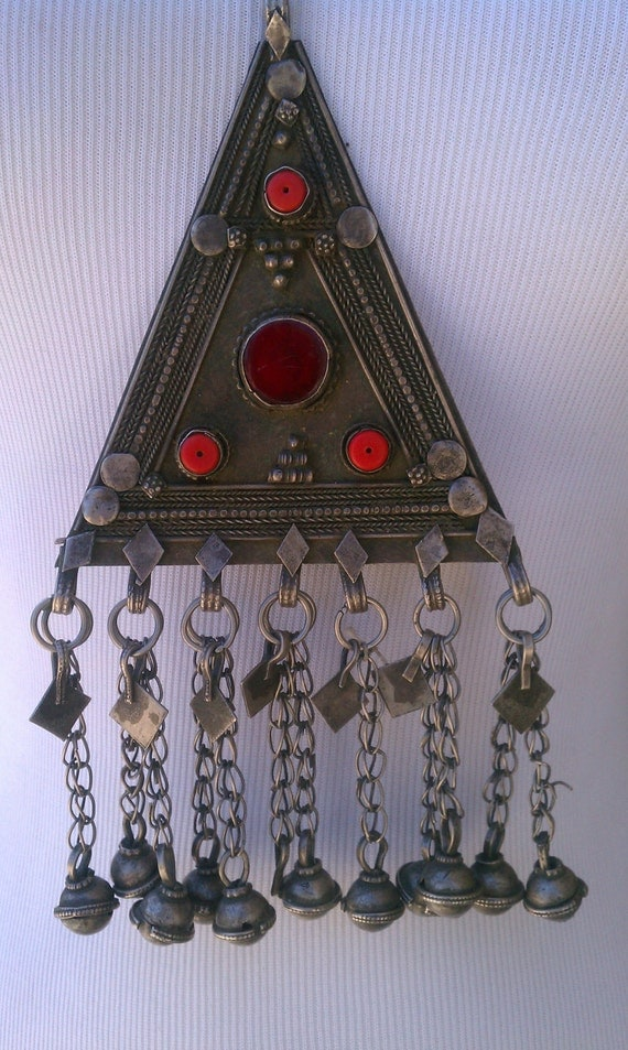 Antique tribal Turkmen triangle necklace with dangling bells