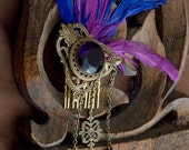 Classy Purple Feather Brass Gem Hair Comb Steampunk/Victorian - fairystitchfactory