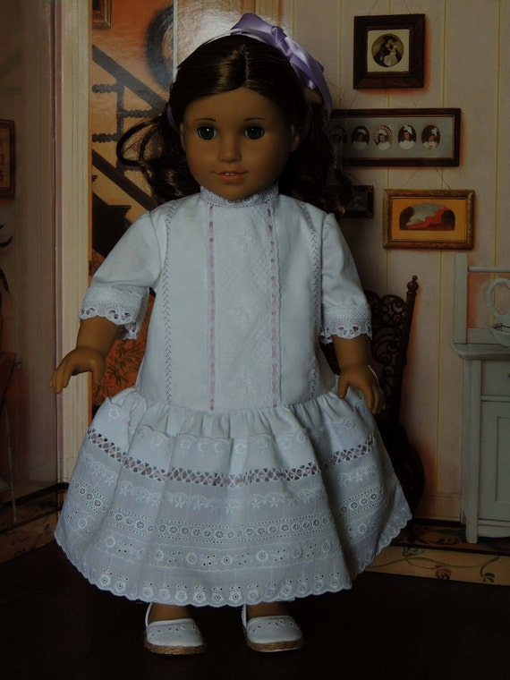 CLEARANCE: White Heirloom Drop Waist American Girl Doll Dress