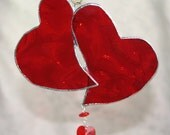 Vivid Red Heart Doublet Stained Glass Window Ornament w/ Swarovski Crystal Heart Drop