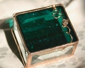 Say I Do. Emerald Green 2x2 Stained Glass Jewelry Box w/ Pewter-cast Rose Ring Box