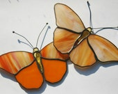 RESERVED for SUSAN Stained Glass Butterfly Suncatcher Two Orange Butterflies