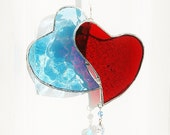 Stained Glass Heart Doublet Patriotic Valentine Red and Blue Hearts Suncatcher w/ Swarovski Crystal Aurora Borealis Heart