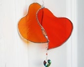 Stained Glass Heart Suncatcher Vivid Orange Heart Doublet Window Ornament w/ Swarovski Crystal Heart Bride and Groom Gift