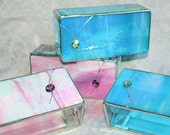 Bridal Attendants Gifts Stained Glass Jewelry Boxes Swarovski Crystals - Custom Made To Order Bridesmaid Gift Idea Set of Four 3x6x2