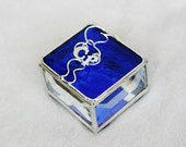 Stained Glass Ring Box Bride & Groom Personalized with Letters Initials Wedding Ceremony Engagement Custom-Made Handmade OOAK
