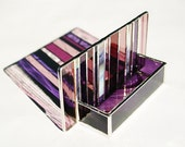 Stained Glass Business Card Holder Purple Plum Wine Art Glass Modern Contemporary Office Fathers Day Handmade OOAK Striped