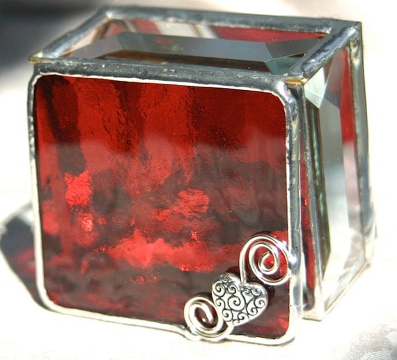 Stained Glass Jewelry Box Ring Box Cranberry Red 2x2 w/ Pewter-cast Scrolled Heart