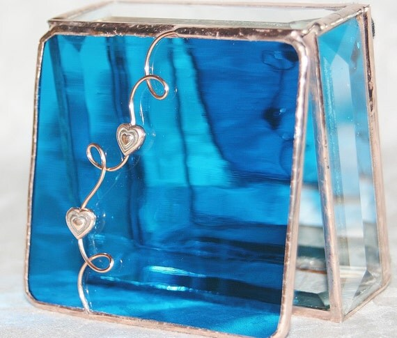 Stained Glass Jewelry Box Turquoise 3x3 w/ Two Copper Hearts Handmade OOAK