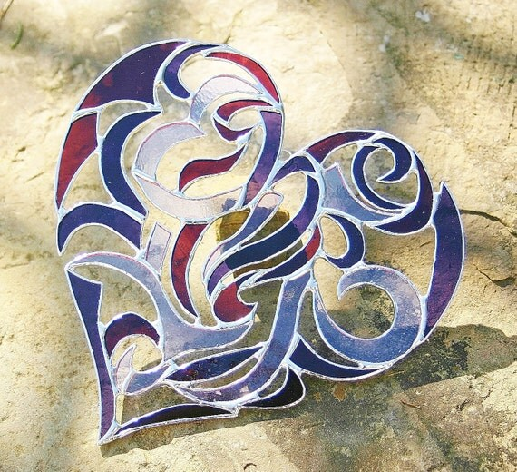 Stained Glass Heart Intricate Valentine Heart Tribal Motif - Purple Lavender Magenta Rose Wedding Gift Anniversary Gift Bride and Groom