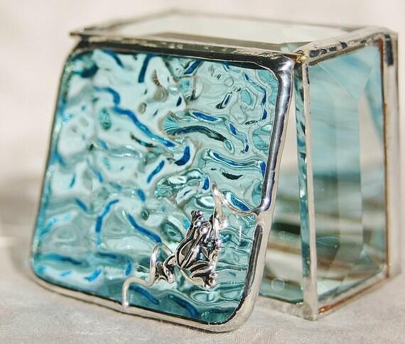 Stained Glass Jewelry Box Sky Blue 2x2 Ring Box w/ Pewter-cast Frog Bead Wedding Ceremony Handmade OOAK