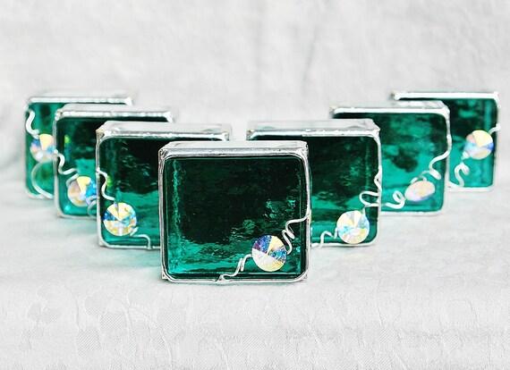Bridesmaid Gift Idea Stained Glass Box Set of Nine Teal & White Swarovski Crystal Rivoli - Custom Made To Order Bridal Attendant Gifts