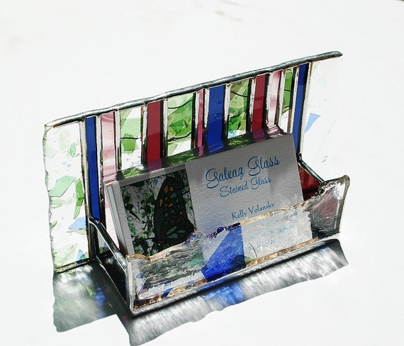 RESERVED for JAN Stained Glass Business Card Holder Green Confetti Indigo Plum Wine Art Glass Office Desk Accessory Graduation Handmade OOAK
