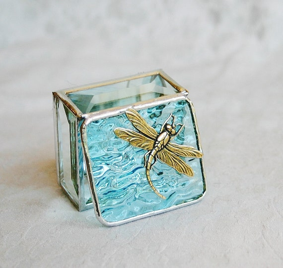 Stained Glass Ring Box Aquamarine Sky Blue 2x2 w/ Gold-tone Art Nouveau Dragonfly Wedding Ceremony Engagement Hand-crafted