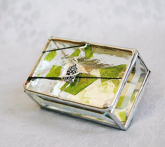 RESERVED for KRISTIN Stained Glass Box Pink Green Confetti 2x3 w/ Pewter-cast Lotus Flower Charm Hand-crafted OOAK