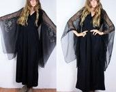 Vintage 70s Long Sheer KIMONO Sleeves Stevie Nicks Dress