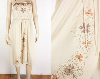 Vintage 70s Nude HAND PAINTED Glitter Floral Dress