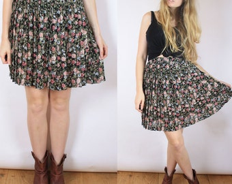 Vintage 90s Pleated Black Floral Mini Skirt