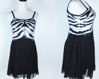 Vintage 80s Zebra Sequin Silk Mini Dress