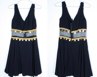 Vintage 60s Cut Out Mesh GOLD COIN Full Skirt Dress
