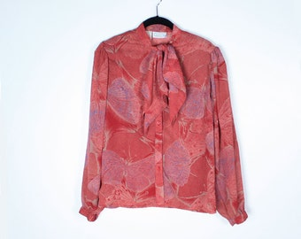 SALE Vintage 70s BUTTERFLY Ascot Blouse