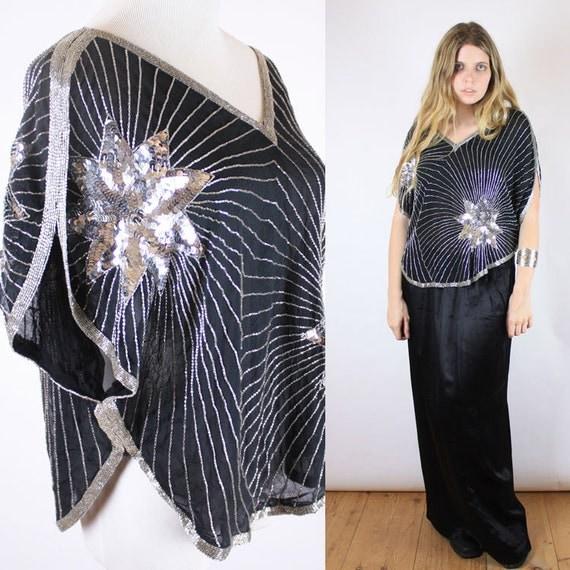 Vintage 80s silk beaded sequin star deco top