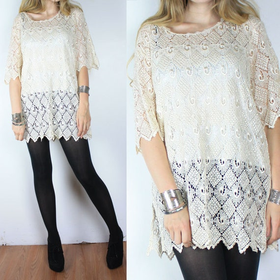 Vintage 70s Cream Sheer Lace Mini Dress Top