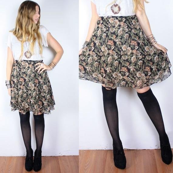 Vintage 90s Floral Grunge Mini Skirt