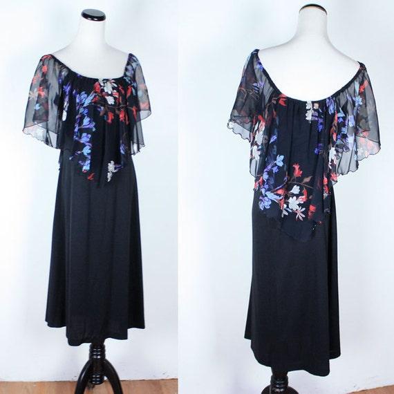 Vintage 70s SHEER FLORAL Cape Black Dress