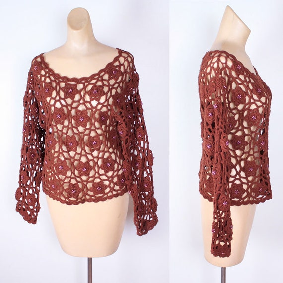 On hold for Alexis Vintage 80s brown sheer crochet sweater