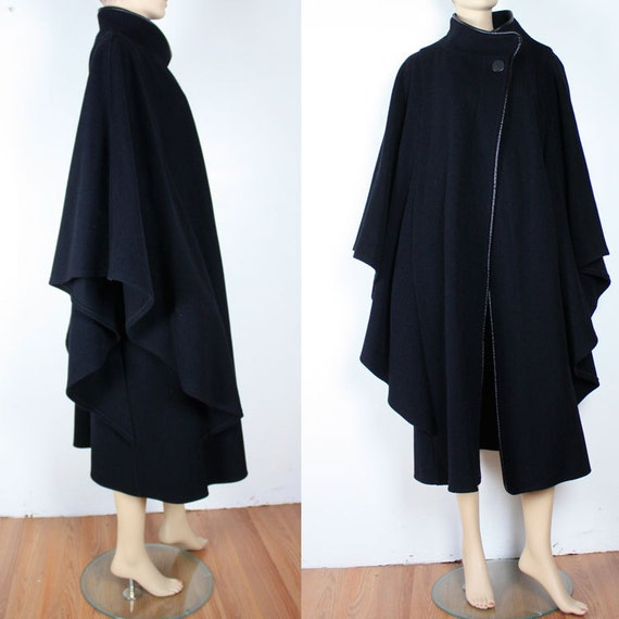 Vintage 80s DRAPED Black Batwing Wool Cape Coat