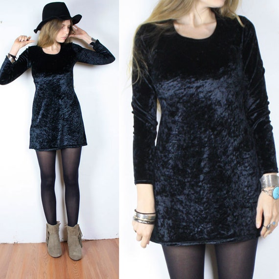 Vintage 90s Black Grunge Velvet Mini Dress