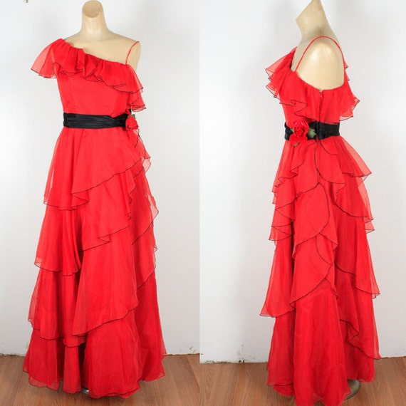 Vintage 70s RED Chiffon Tiered One Shoulder Maxi Dress