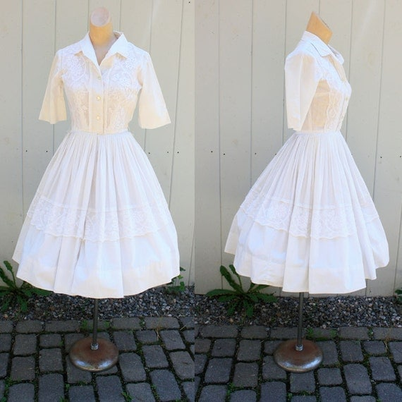 Vintage 50s White Cotton Lace Full Dress