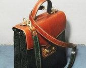 FINE Vintage SACHS Green/Brown Leather SATCHEL Bag.