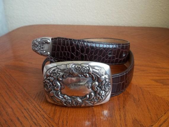 Vintage BOHO Burgundy Croco Leather BUCKLED Belt (S)