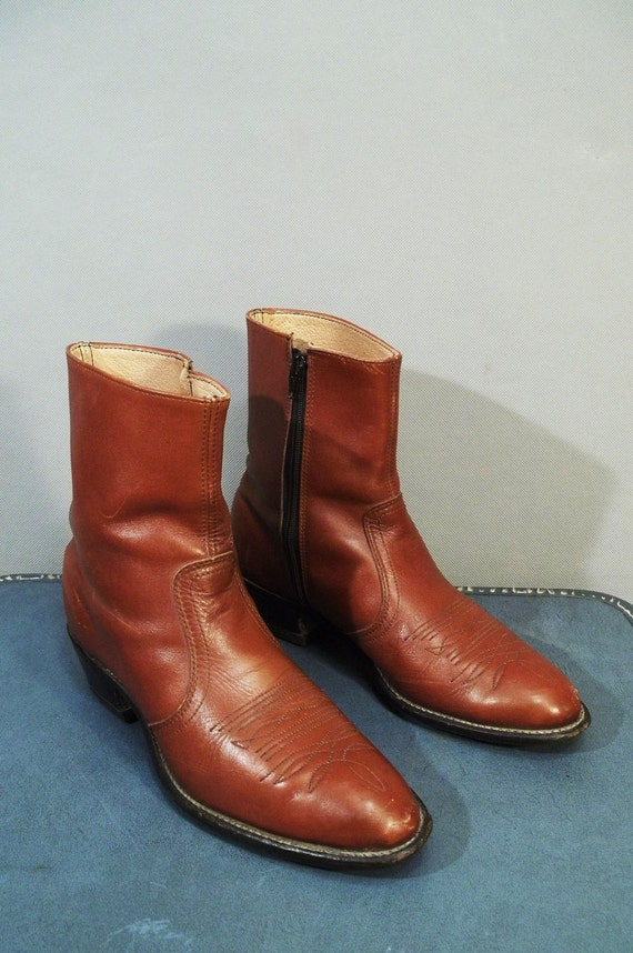 Vintage Brown Leather Western Toe Ankle Boots. Size Mens 8.5, Women 10   (42 Euro)