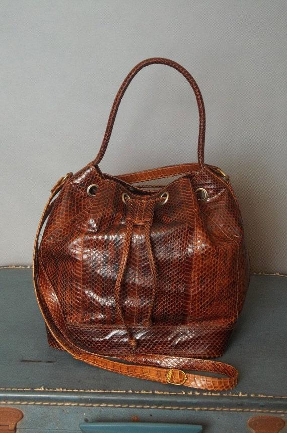 Vintage FINE Handmade SNAKE SKIN Bucket Bag.