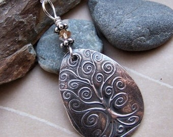 Silver Tree Of Life Pendant, Tree of Life Necklace, Whimsical Silver Tree Pendant