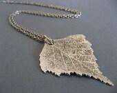 Long Silver Leaf Pendant Necklace