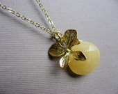 Gold Orchid Flower Pendant, Yellow Jade Necklace