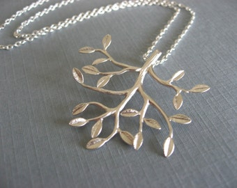 Tree Pendant, Silver Tree Necklace, Leafy Branch Necklace in Silver