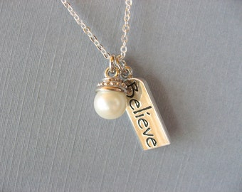 Believe Pendant, Pearl Necklace with tiny pearl in silver