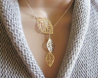 Silver Leaf Necklace, Lariat Necklace, Three Leaf Pendant Necklace, Silver Jewelry