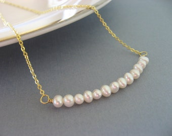 Elegant Pearl Necklace, Gold Pendant, Everyday Casual or Bridal, Bridesmaid gift
