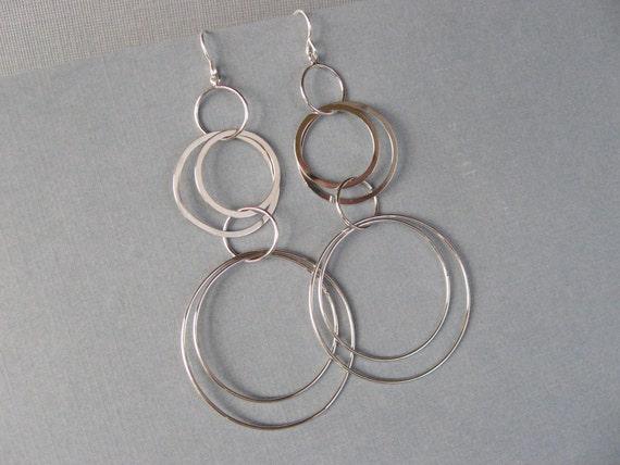 Silver Hoop Earrings, Silver Rings Earrings