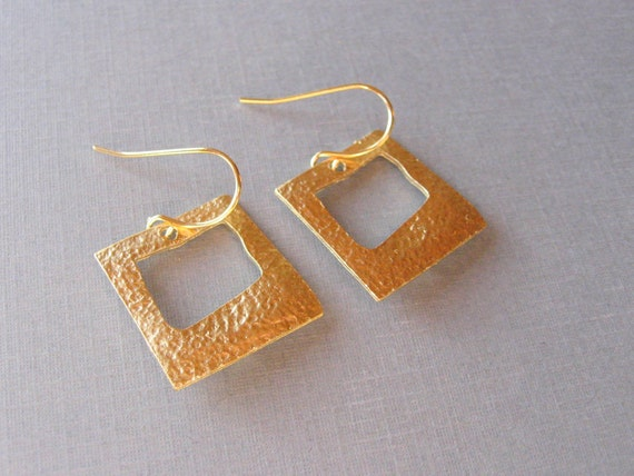 Gold Square Drop Earrings, Everyday Casual or Bridal, Bridesmaid Gifts