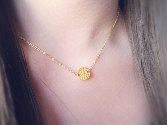 Gold Coin Necklace, Hammered Disk Choker, minimal necklace