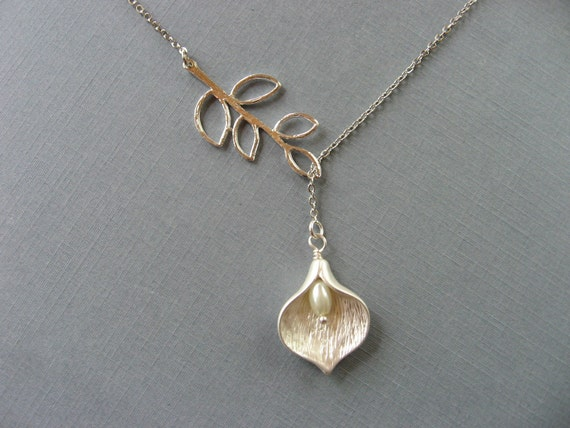 Silver Calla Lily Necklace, Silver Flower Necklace