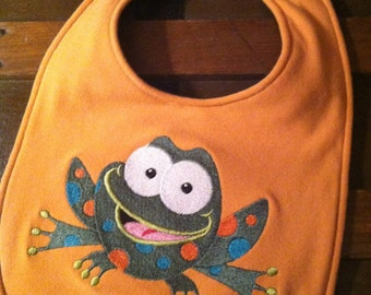 Embroidered Spotted Frog Baby/Toddler Bib